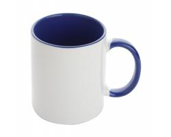 Keramický hrnek s barevným vnitřkem HARNET vhodný na sublimaci, 350 ml - bílá / modrá