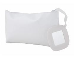 Plastová kosmetická taška XAN se zrcátkem - bílá