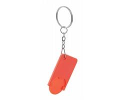 Plastový přívěsek na klíče BEKA s žetonem do vozíků - červená