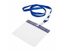 Polyesterový lanyard s pouzdrem na jmenovku MAES - modrá / transparentní