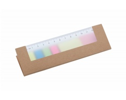 Sada samolepicích papírků HENSA v obalu s pravítkem - béžová