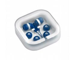 Plastová sluchátka do uší CORT v plastové krabičce - bílá / modrá