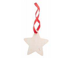 Dřevěná vánoční ozdoba WOXMAS - přírodní / červená