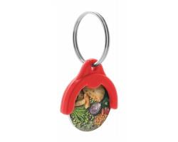 Plastový přívěsek na klíče TOKEN s žetonem do nákupních košíků - červená