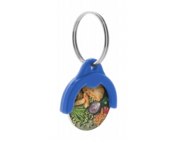 Plastový přívěsek na klíče TOKEN s žetonem do nákupních košíků - modrá