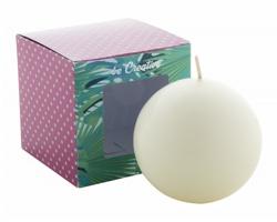 Kulatá svíčka COSMOS v papírové krabičce s vaším potiskem - bílá