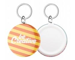 Plastový button KEYBADGE MAXI s kroužkem na klíče - bílá