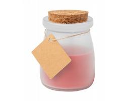Vonná svíčka TEPOR ve skleničce s korkovou zátkou - červená