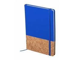 Poznámkový blok BLUSTER s deskami z korku a PU kůže, formát A5 - modrá / přírodní