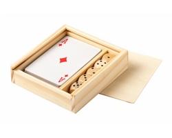 Sada hracích karet a kostek PELKAT v dřevěné krabičce - přírodní