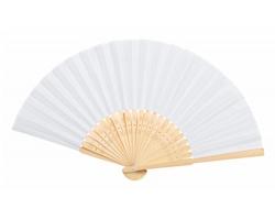 Textilní vějíř KRONIX s bambusovými žebry - bílá / přírodní