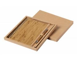 Bambusový poznámkový blok HECAN s kuličkovým perem, formát A5 - přírodní