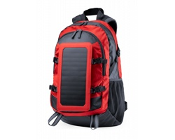 Turistický batoh RASMUX se solárním panelem - červená