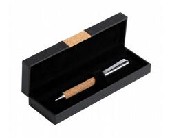 Kovové kuličkové pero s korkovým úchopem VAMET v dárkové krabičce - přírodní / stříbrná