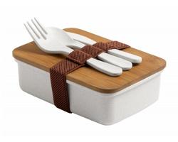 Plastový box na jídlo BILSOC s příborem - přírodní