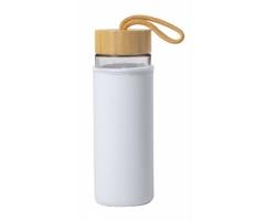 Skleněná sportovní lahev LUROK s bambusovým víčkem, 530 ml - bílá