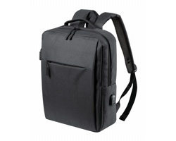 Polyesterový městský batoh PRIKAN s prostorem na notebook - černá