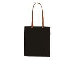 Bavlněná nákupní taška DAYPOK s dlouhými držadly z PU kůže - černá