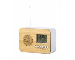 Plastové rádio s displejem TULAX a bambusovou přední stranou - přírodní