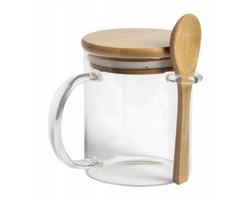 Skleněný hrnek KIPAL s bambusovým víčkem a lžičkou, 420 ml - přírodní