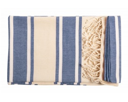 Bavlněný plážový ručník YISTAL - modrá / přírodní