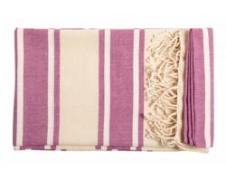 Bavlněný plážový ručník YISTAL - růžová / přírodní