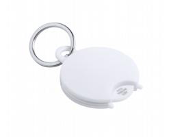 Plastový přívěsek na klíče PORTIS s žetonem a antibakteriální ochranou - bílá