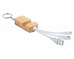 Bambusový přívěsek na klíče TOLEM s nabíjecím USB kabelem - přírodní