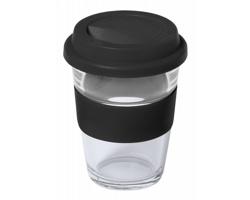 Skleněný cestovní hrnek DURNOX, 350 ml - černá / transparentní