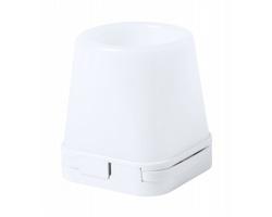 Plastový stojánek na pera BELIND s USB hubem a LED světlem - bílá