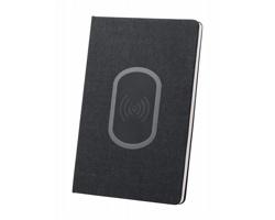 Linkovaný poznámkový blok KEVANT s bezdrátovou nabíječkou v deskách, formát A5 - černá