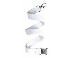 Polyesterový lanyard KAPPIN s karabinkou a bezpečnostní sponou - bílá