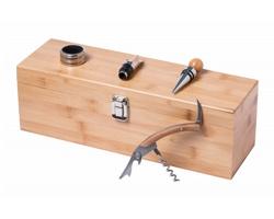 Sada příslušenství k vínu BORIAX v bambusové krabičce - přírodní