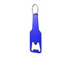 Kovový přívěsek na klíče ve tvaru lahve CLEVON s otvírákem lahví - modrá