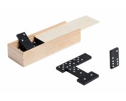 Dřevěná hra domino PRAKON v dřevěné krabičce - černá / přírodní