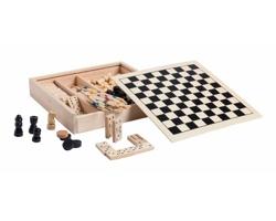 Sada deskových her XIGRAL v dřevěné krabici - přírodní