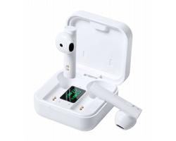 Plastová bezdrátová sluchátka VINZER s nabíjecím pouzdrem - bílá