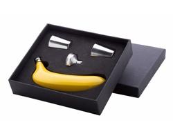 Dárková sada butylky ve tvaru banánu PLATANO a 2 kalíšků s nálevkou - vícebarevná