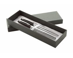 Sada kovových psacích potřeb STATION - stříbrná / černá