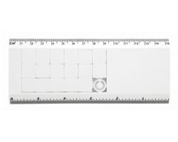 Plastové pravítko SLIDY s posuvným hlavolamem, 15 cm - bílá