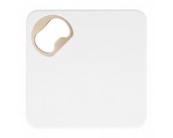 Plastový podtácek HOPFANATIC s otvírákem - bílá