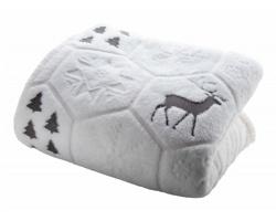 Fleecová vánoční deka SUNDBORN - šedá / bílá