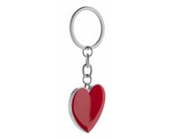 Kovový přívěsek na klíče VALENTINE ve tvaru srdce - červená