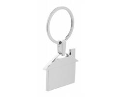 Kovový přívěsek na klíče DWELL ve tvaru domečku - stříbrná
