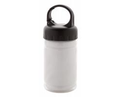 Polyesterový sportovní ručník CUTLER v plastové lahvi - černá / transparentní