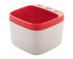 Plastový stojánek na pera WARGER s USB hubem - červená / bílá