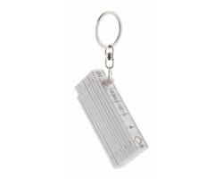 Skládací mini metr CABINET s kroužkem na klíče - bílá