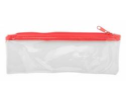Plastové pouzdro na pera ZEPPY - červená / transparentní