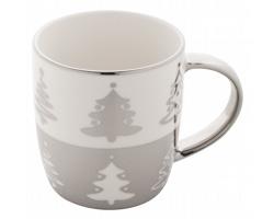 Porcelánový vánoční hrnek PROXXY, 350 ml - stříbrná