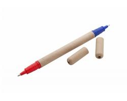 Dvoubarevné kuličkové pero LIPPO z recyklovaného papíru - přírodní